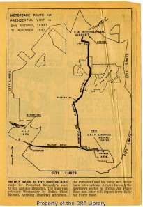 A map of President Kennedy's motorcade route through San Antonio, printed in the Express-News on November 20, 1963.