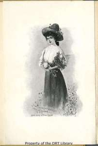 The frontispiece illustration in Mary Ware in Texas, showing the title character in a field of bluebonnets.