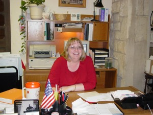 Leslie as a library assistant in 2002.