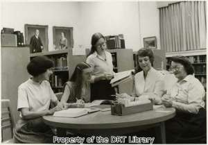 Members of the DRT Library staff in 1980. From left to right, Martha Utterback, Sandra Hood, Robin King, Sharon Crutchfield, and Bernice Strong.