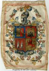 A family crest in the Cordero family genealogical manuscript.