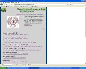 The DRT Library's main page at Texas Archival Resources Online.