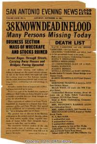 The names included in this preliminary list indicate that the majority of San Antonians killed by the flood were Hispanic residents of the city's west side.