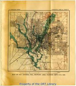Map from C. E. Ellsworth's study of the 1921 flood. The report was prepared by the U.S. Geological Survey, a unit of the Department of the Interior, in cooperation with the state of Texas.