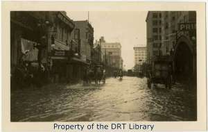 Floodwater in an unidentified street in downtown San Antonio.