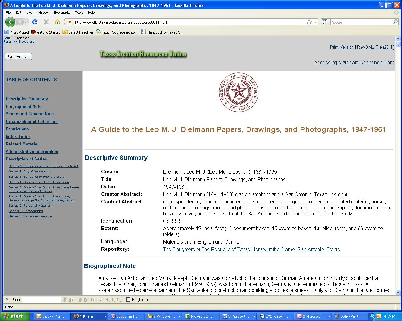 DRT Library Now Participating in Texas Archival Resources Online ...