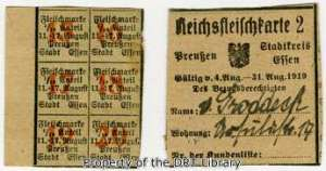 Meat tickets (left) and a meat ration card (right) from post-war Germany.