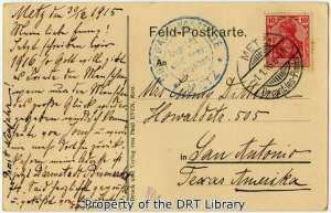 """""""Now we write 1916,"""" stated Emmy Dittmar's """"aunt and sister"""" Marie on the back of the above postcard, """"and as God will we might have peace."""""""