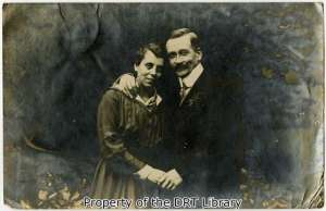 "The front of a postcard, this photograph shows one of Emmy Dittmar's German relatives and his new fiance. ""I hope you are all alive,"" wrote her aunt Marie in August 1919. ""As you see Willi is happily engaged after this horrible war and hopes for happier times for the young couple."""