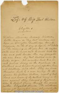 "The first page of the first chapter in the manuscript of ""Life of Big Foot Wallace."""