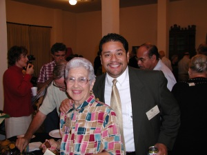 Mrs. Herrera with Library Assistant Rusty Gamez at the 2002 Texas History Forum.