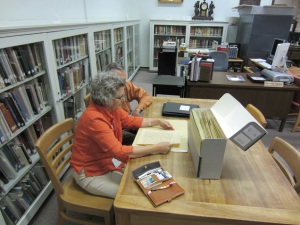 Ann Shafer and her husband examined letters written by her ancestor, John Fisher Armstrong. The documents are part of the Armstrong family papers, which were donated to the Library by Ann's mother, Catherine A. Joseffy.