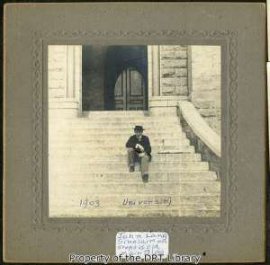 John Lang Sinclair on the steps of UT's old Main Building, 1903.