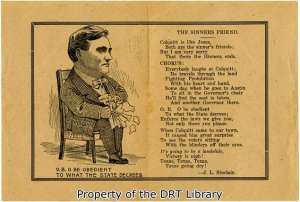 "Remembered by friend W. D. Pirie as a ""prolific writer,"" Sinclair wrote the above poem lampooning Oscar B. Colquitt (1861-1940), who made an unsuccessful run for governor in 1906 and was elected to the office in 1910 as an anti-prohibitionist."
