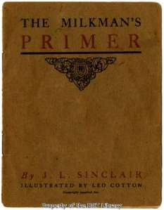 """The cover of """"The Milkman's Primer,"""" a small, undated pamphlet authored by John Lang Sinclair."""