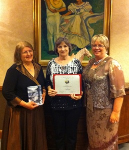 From left to right, 2009-2011 DRT Library Committee Chairman Elaine Milam Vetter, Crosswire author Dotti Enderle, and DRT Library Director Leslie Stapleton.