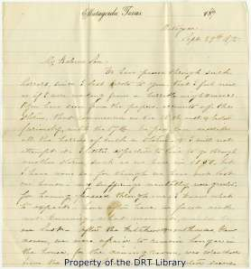The first page of Eliza Ophelia Fisher's letter to her son Samuel Rhoads Fisher.