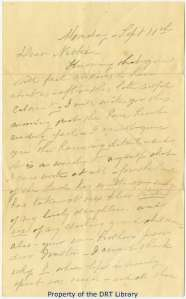 The first page of Annie Harris's letter to her niece.