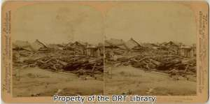 A stereograph showing damage at Avenue O and 19th Street in the aftermath of the Galveston Hurricane of 1900. (SC10034)