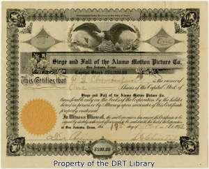 A stock certificate for the Siege and Fall of the Alamo Motion Picture Co., November 17, 1913.