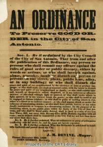 Broadside of an ordinance passed by the San Antonio City Council, December 29, 1856.