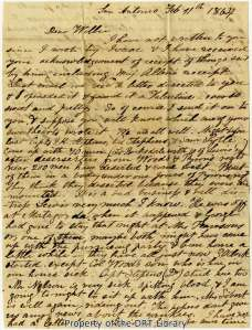 The first page of Mary Ann Maverick's letter to her son, February 11, 1864.