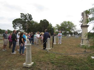 Ernesto Rodriguez, Alamo Assistant Curator, talked about Robert Gillespie and Samuel H. Walker at the Odd Fellows Cemetery.