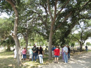 Attendees appreciated the shade near the graves of Carl Hilmar Guenther and his family.