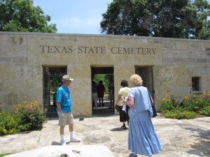 Arriving at the Texas State Cemetery in Austin.
