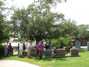 The Susanna Dickinson cenotaph in the Texas State Cemetery; she is buried in Austin's Oakwood Cemetery.