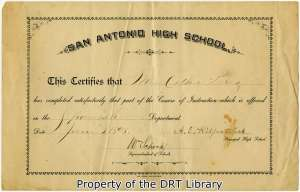 Certificate to Esther Perez, one of three in the Cassiano-Pérez Family Papers, June 3, 1898.