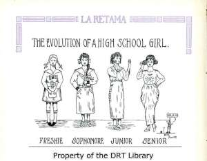 """The Evolution of a High School Girl,"" from the 1919 yearbook of San Antonio's Brackenridge High School."