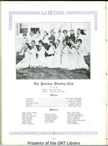 """The Periclean Debating Club,"" photographed in the 1919 Brackenridge yearbook. The girls' outfits look very similar to those described in ""Suggested Clothing for the High School Girl."""