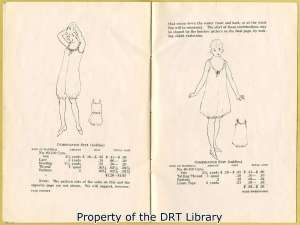 """Suggested Clothing for the High School Girl"" also included patterns for undergarments such as slips, petticoats, camisoles, underskirts, and the teddies shown here."