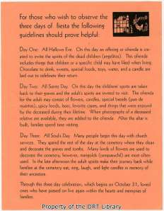 Helpful guidelines for El Dia de los Muertos written by an unknown author, contained with the library's vertical files.
