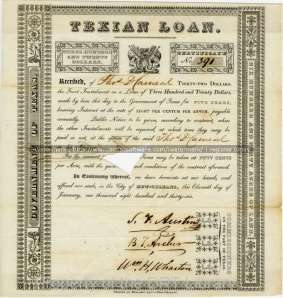 The three commissioners offered these scrips to investors in New Orleans. The initial loan amount was issued for $100,000, of which only about $20,000 ever came through. The triangle cut into this certificate is a cancellation mark, showing that the certificate was redeemed. DRT 9 Folder 907.
