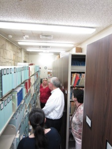 Leslie showed the librarians our vertical file and periodical collections as well as helped them understand more about the Research Center and its functions.