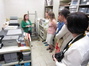 Jaime and the librarians visited the Vault to explore the legal resources available in the collections, including printed maps, plat and survey maps, land patents/grants, deeds of all kinds, correspondence, case files, and more.