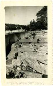 """Old Monkey Island,"" circa 1930s-1940s. An early example of the open air enclosures at the San Antonio Zoo."