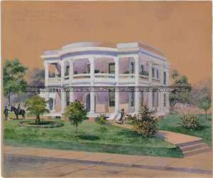 Notice the dramatic Corinthian columns that ring the portico. Presentation drawing of the Joseph Courand House, Dielmann, Leo M.J., Papers, Col 883, DRT Library Collection, Alamo Research Center, San Antonio, Texas.
