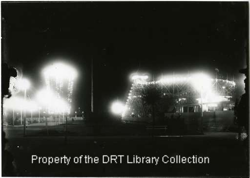 Electric Park fully illuminated at night! This was a trend inspired by the 1893 Chicago World's Fair and later Coney Island-type theme parks. General Images Collection, DRT Library, Alamo Research Center.