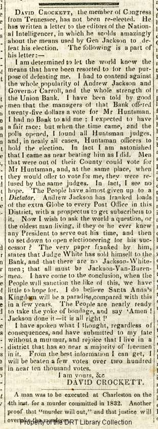 Portion of a letter written by David Crockett to the National Intelligencer, appearing in the Essex Register, Sept. 10, 1835. DRT 12 Newspaper Collection, DRT Library Collection