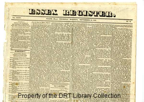Masthead of the Essex Register (Salem, MA), Sept 10, 1835. This edition contains a portion of the letter that David Crockett wrote to the National Intelligencer.
